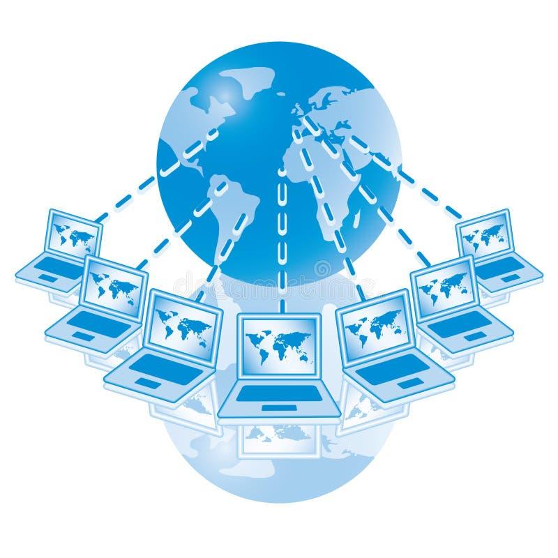 4. Red de ordenadores global en azul. stock de ilustración