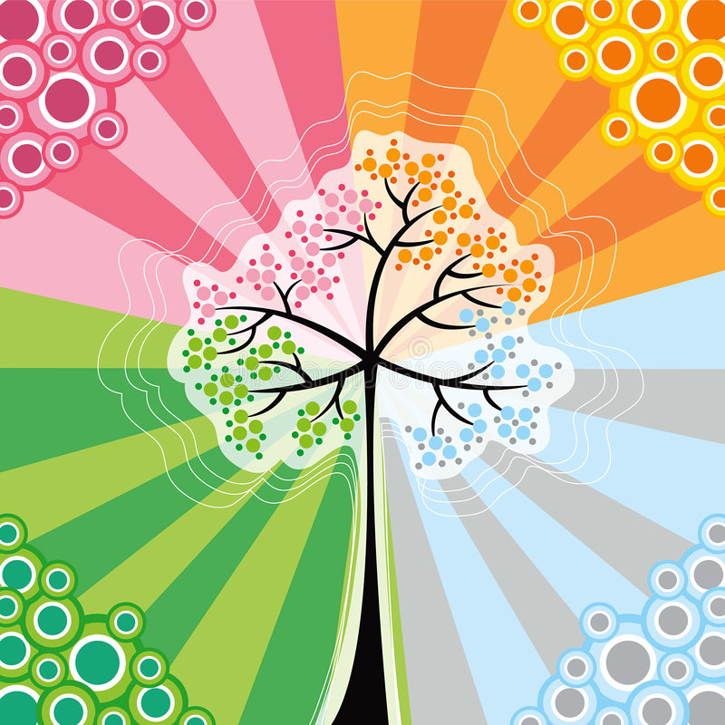 4 retro sezon pop tree ilustracja wektor