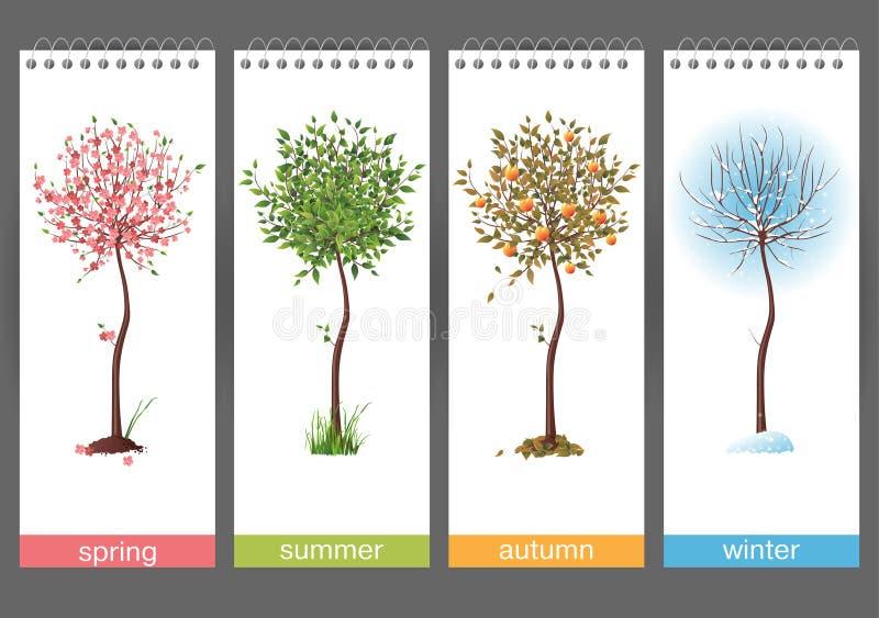 4 säsonger vektor illustrationer