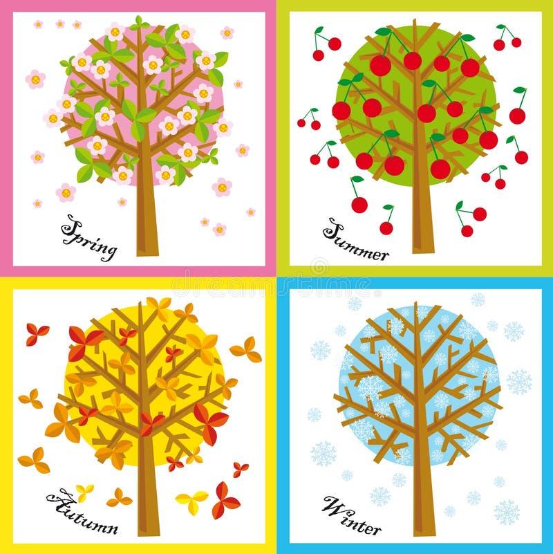 4 säsonger stock illustrationer
