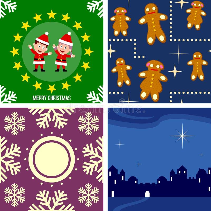 4 seamless tegelplattor för jul vektor illustrationer