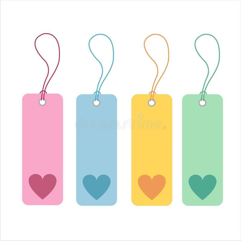 4 serca ustawiających etykietki ilustracja wektor