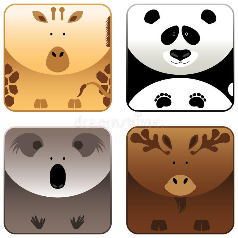 4 set wild för djursymbol