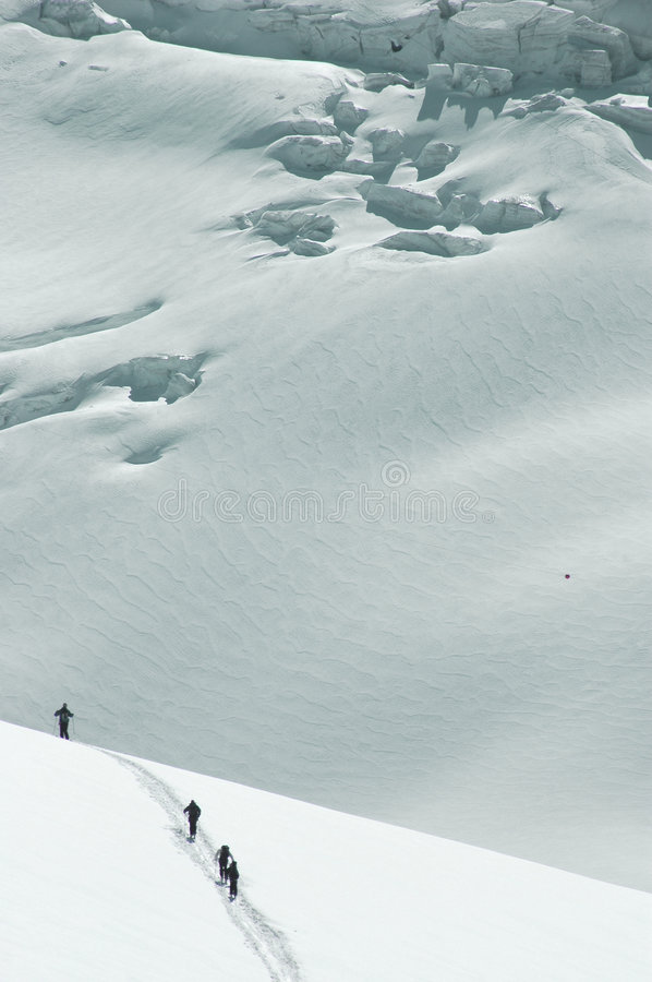 Download 4 Skiers on the Mt Blanc stock image. Image of touring - 5227125