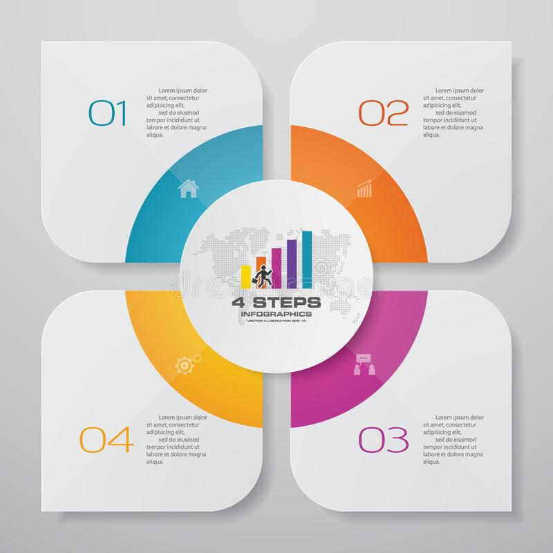 Free 4 Steps Simple&editable Process Chart Infographics Element. Stock Images - 135966824