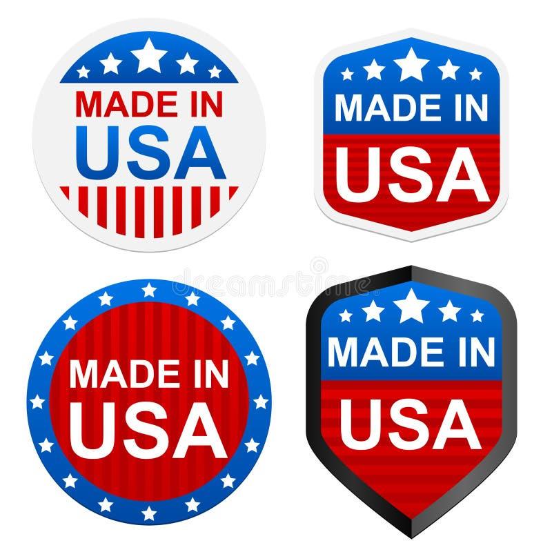 4 stickers - die in de V.S. worden gemaakt royalty-vrije illustratie