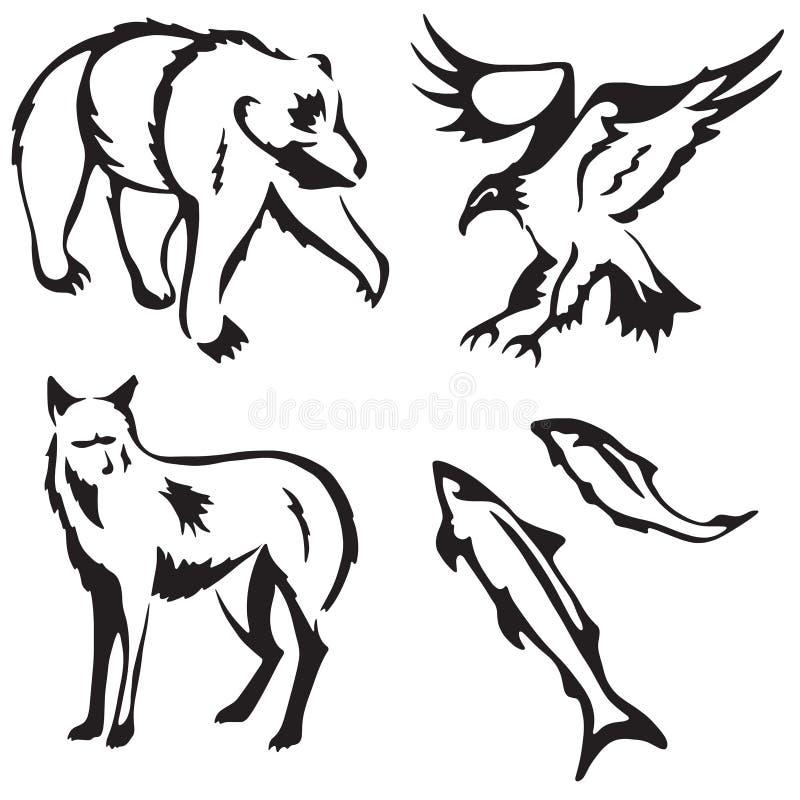4 stylized animals. Stylized illustrations of a bear, eagle, fox and salmon