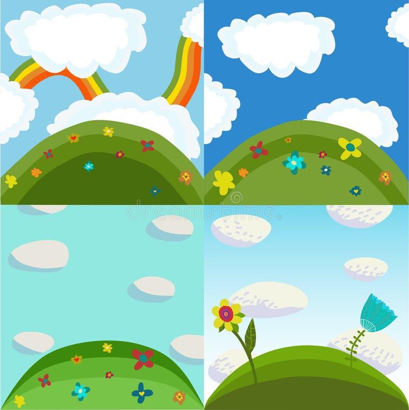 4 summer nature backgrounds royalty free illustration
