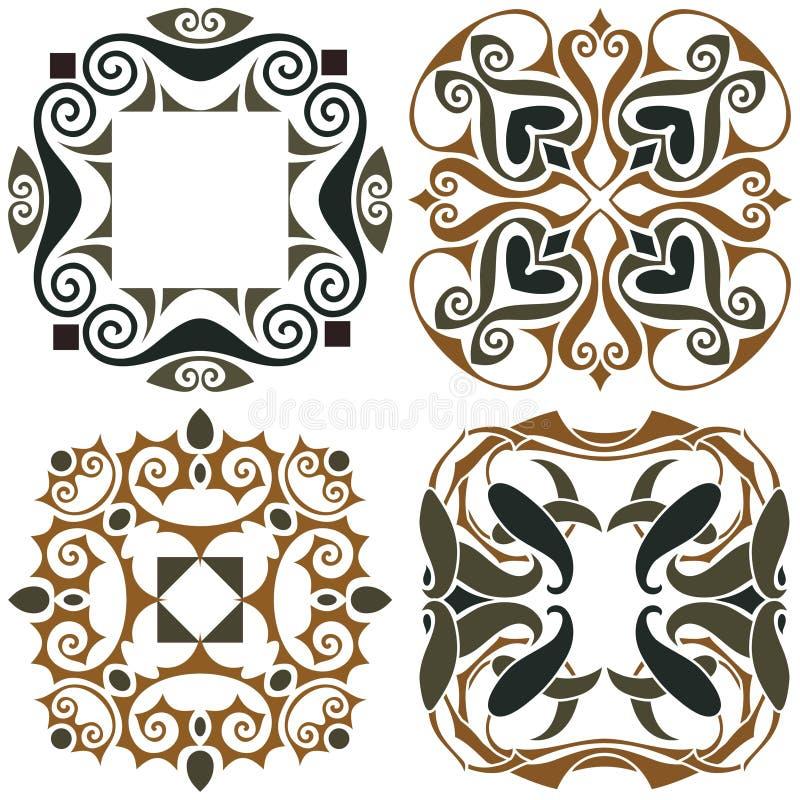 4 sztuki nouveau tapety royalty ilustracja