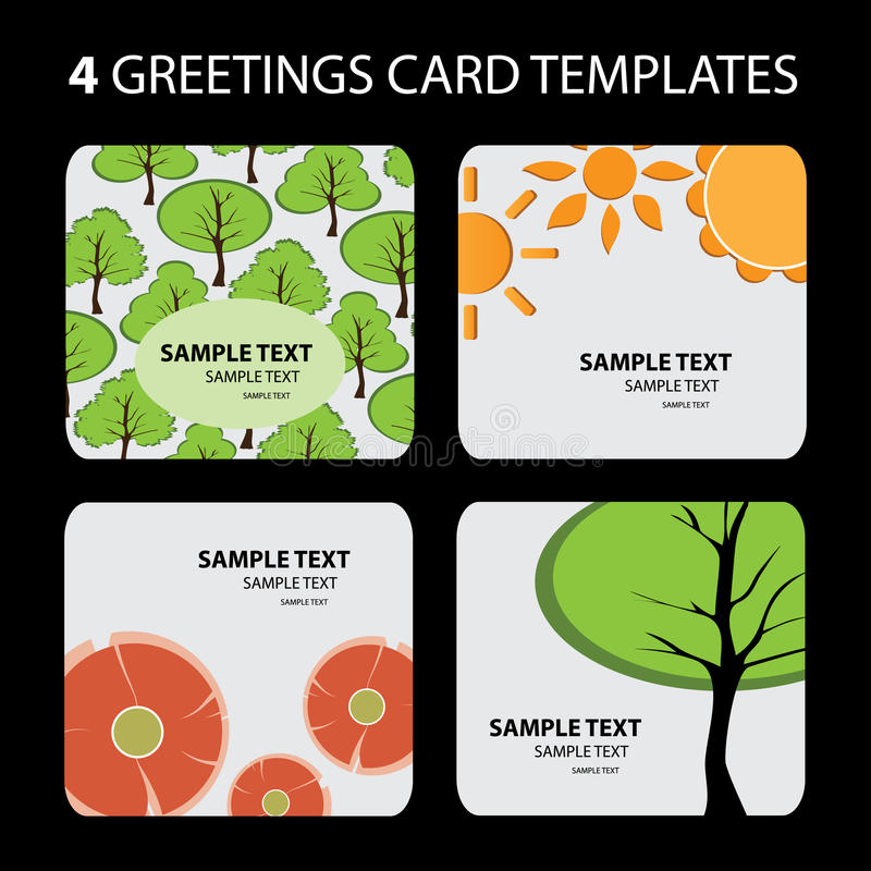 4 tarjetas de felicitación: Naturaleza stock de ilustración
