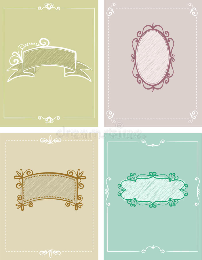 4 Templates Of Greeting Cards Royalty Free Stock Images