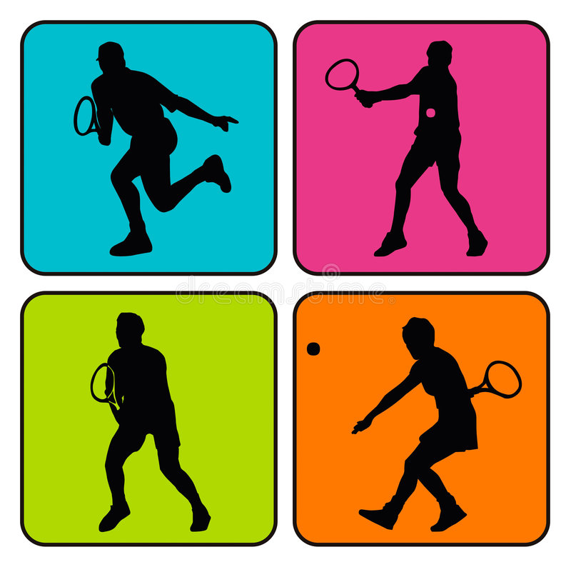 4 tennis silhouettes vector illustration
