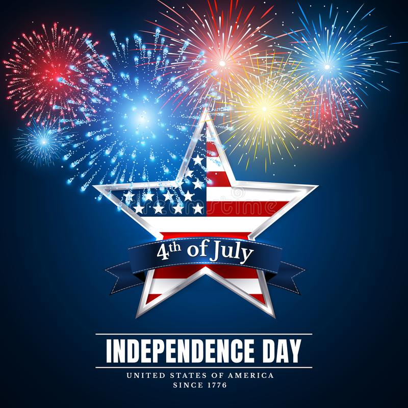 Free 4 Th July Usa Star, Independence Day. Fireworks. Festival Colorful Firework. Vector Llustration On Blue Background Stock Photography - 140661772