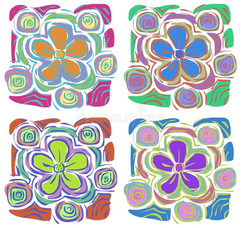 4 Tropical Flowers stock illustration
