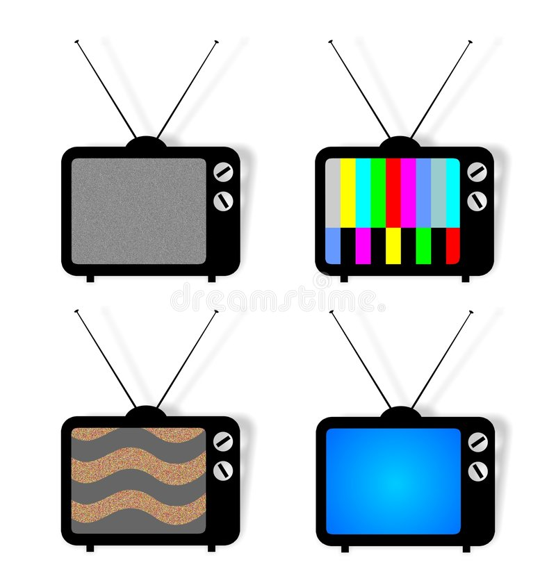 4 TVpictogrammen royalty-vrije illustratie