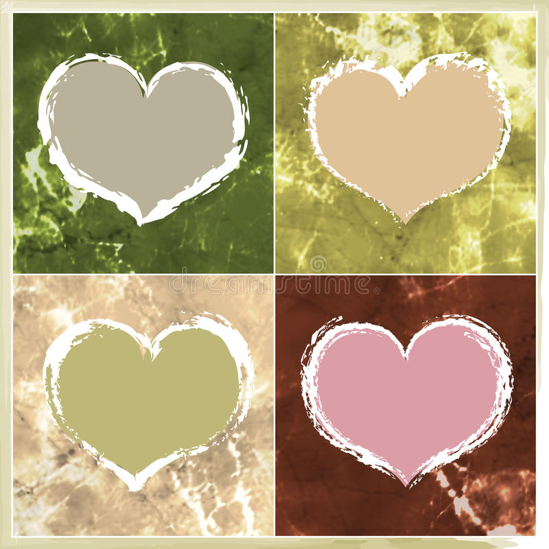 4 Valentine Hearts. A versatile Valentines Day design element, these four Valentines hearts can be used together or individually in both modern and traditional stock illustration