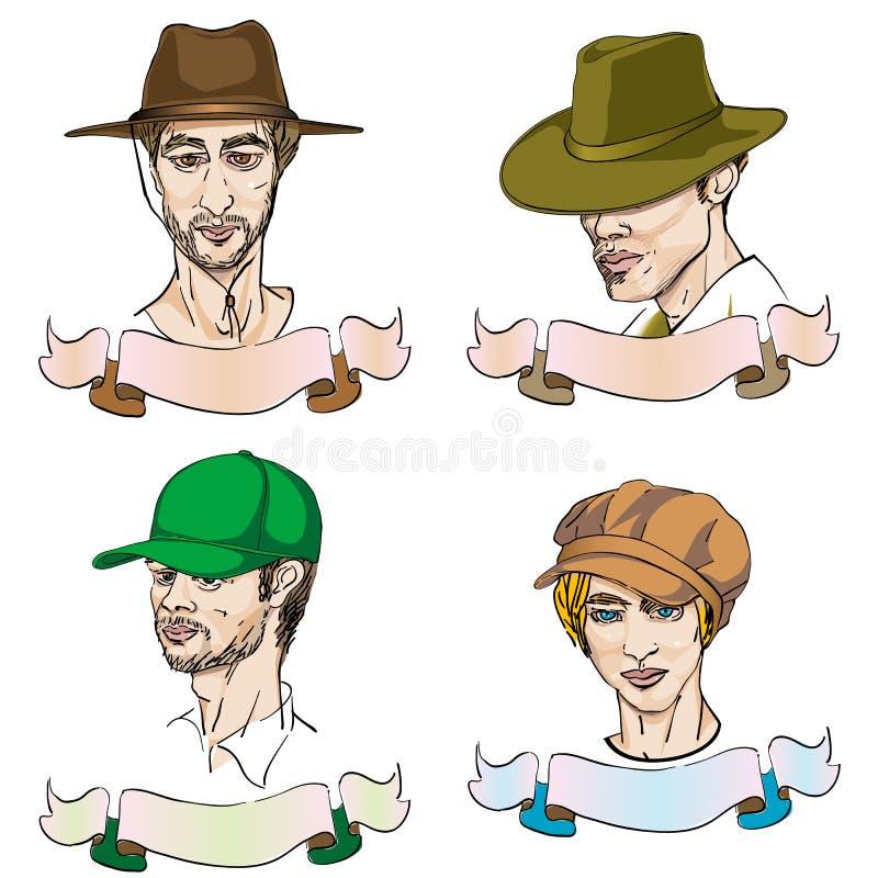 4 verschiedene Männer mit Hüten vektor abbildung