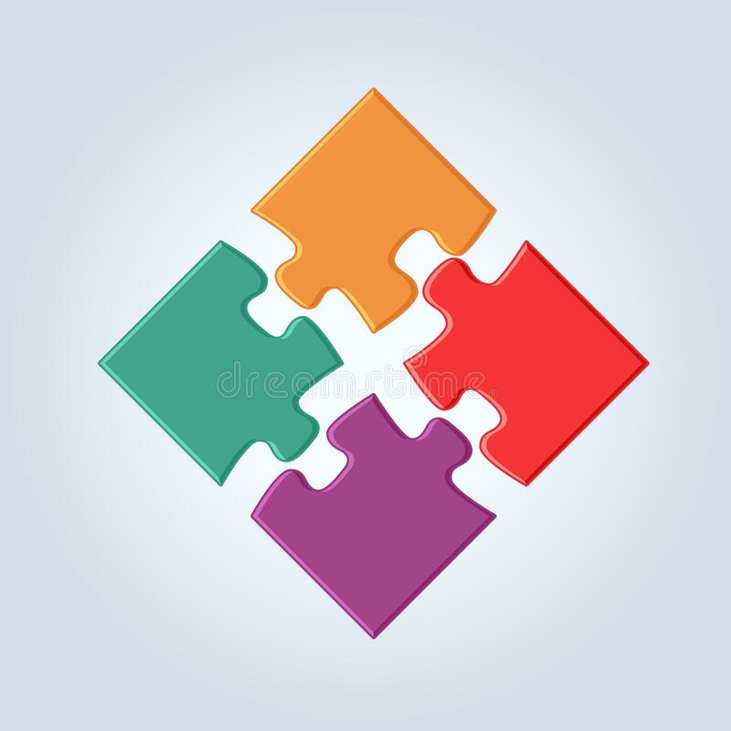 Free 4 Vivid Colorful Puzzle Pieces Vector Illustration. 2 X 2 Jigsaw Game Square Royalty Free Stock Photos - 190032988