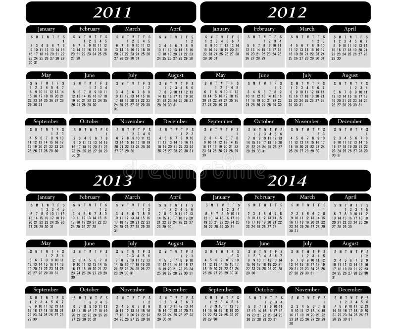 4 Year Calendar on Black stock illustration