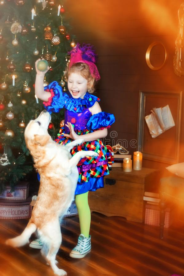 Free 4 Years Old Girl In Blue Carnival Costume Of Clown Play With Dog Near Christmas Tree. Happy Christmas And New Year. Friendship Royalty Free Stock Image - 166774916