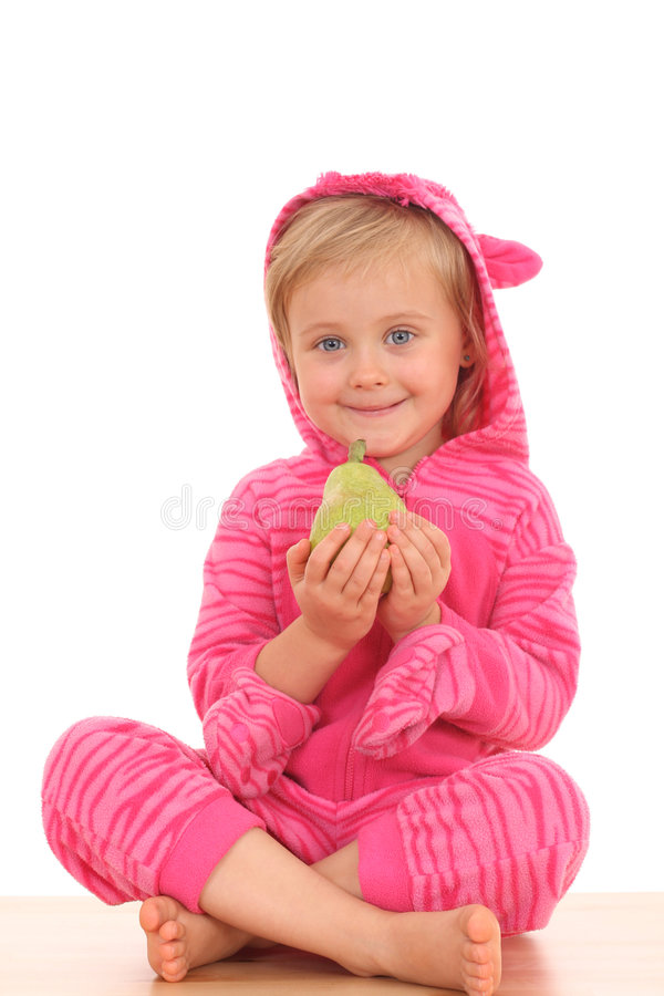 Free 4 Years Old Girl With Pear Royalty Free Stock Image - 3228206