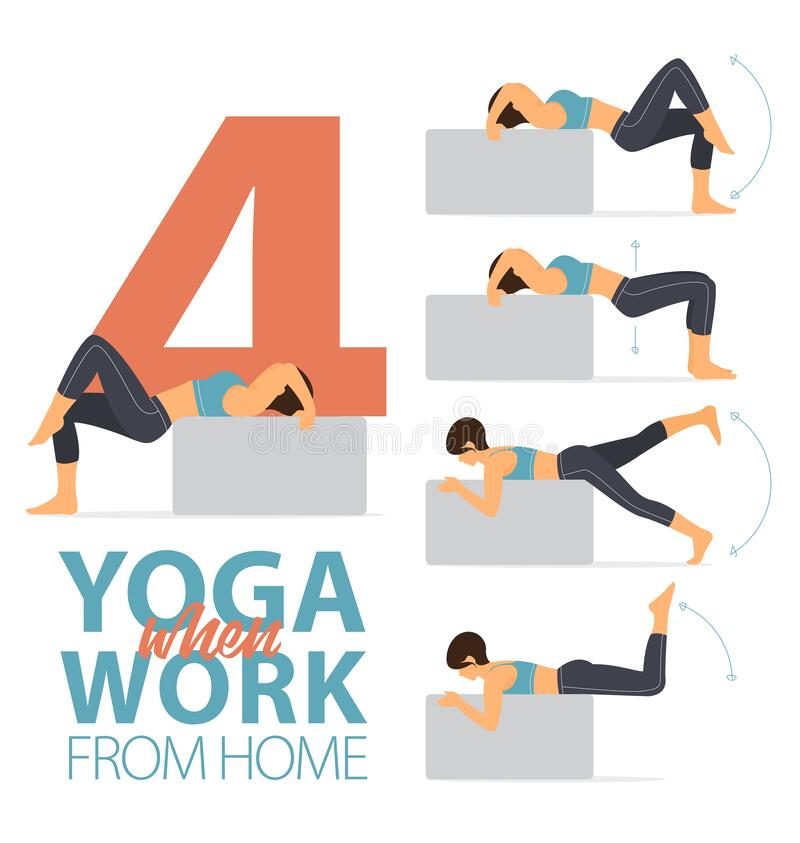Free 4 Yoga Poses For Easy Yoga At Home Concept In Flat Design. Woman Exercising For Body Stretching. Vector. Stock Photography - 185605662