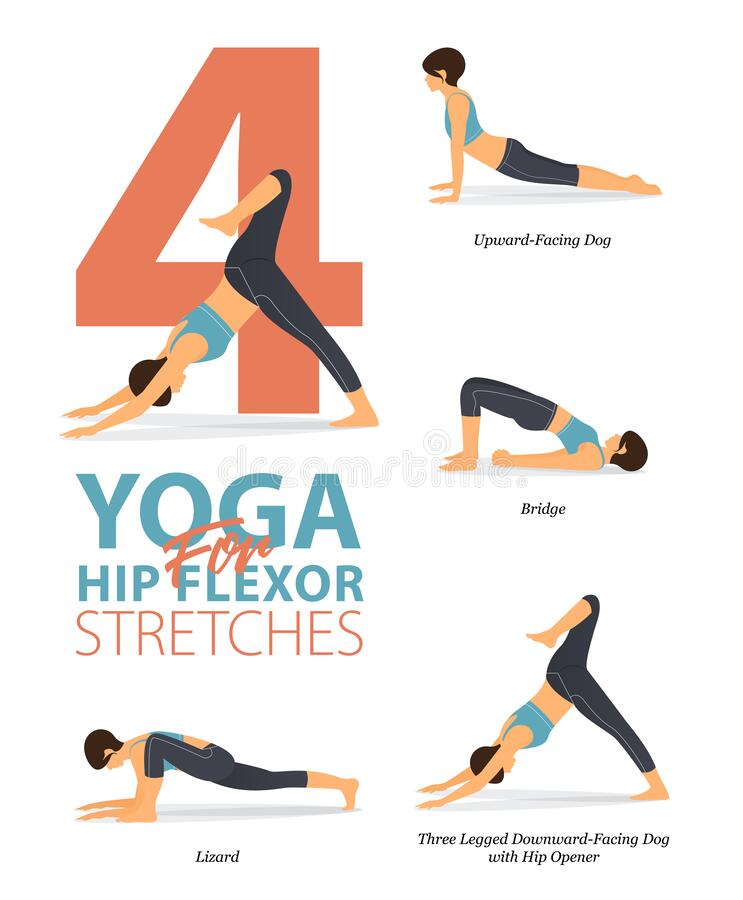 Free 4 Yoga Poses For Workout In Concept Of Hip Flexor Stretch. Woman Exercising For Body Stretching. Vector. Stock Photos - 187327643