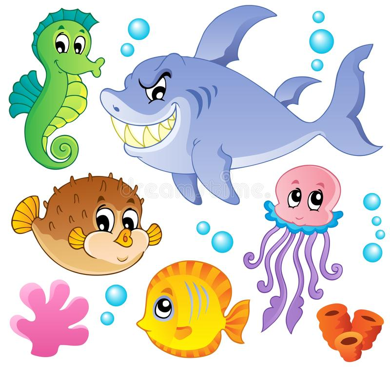 4 zwierząt kolekci ryba dennej ilustracji