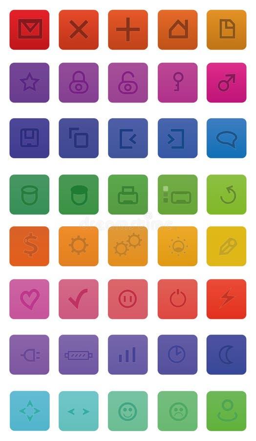 40 ícones do Web ilustração stock