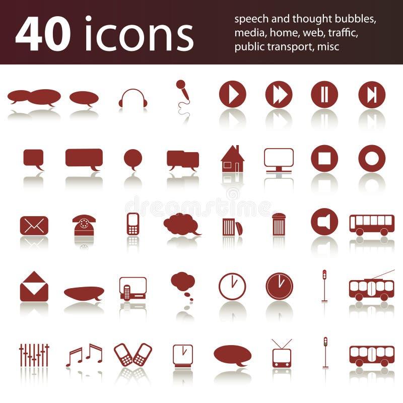 40 ícones: media, HOME, tráfego, Web ilustração do vetor
