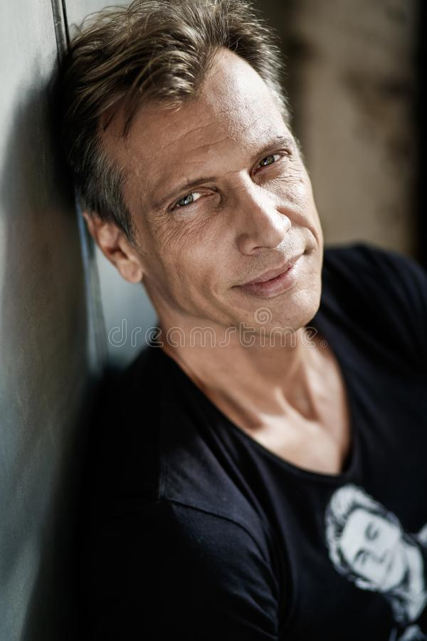 Free 40-50 Years Old Man With Gray Hairs Looking Confident In A Black Shirt Stock Photos - 161215823