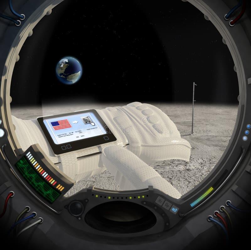 40 ans postérieurs de lune illustration de vecteur