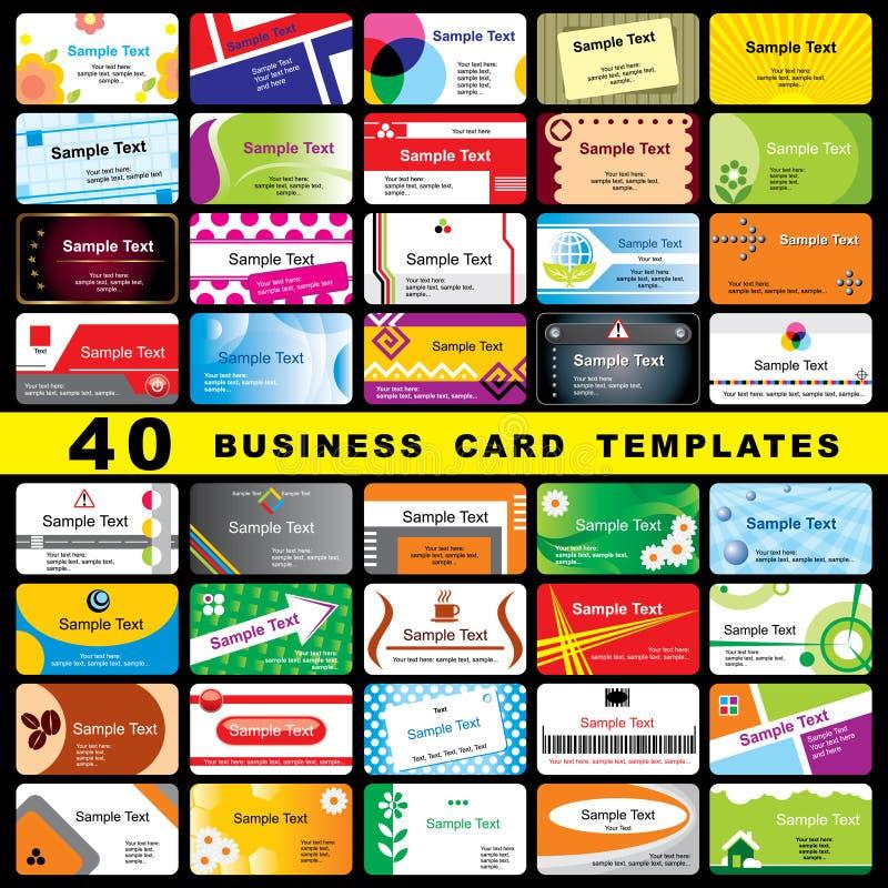 40 cartes de visite professionnelle de visite illustration libre de droits