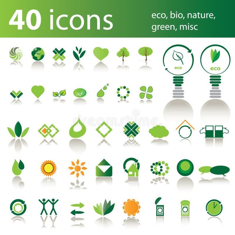 40 icone: eco, bio-, natura, verde, vario illustrazione vettoriale