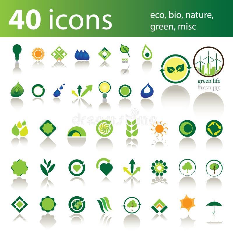 40 Ikonen: eco, Bio, Natur, Grün, verschieden vektor abbildung