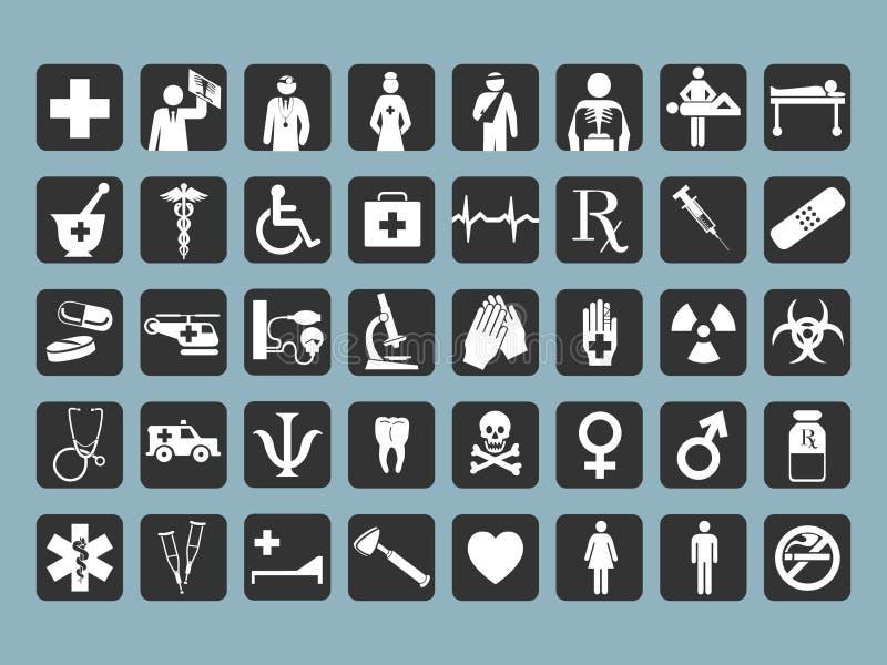 40 medizinische Ikonen stock abbildung