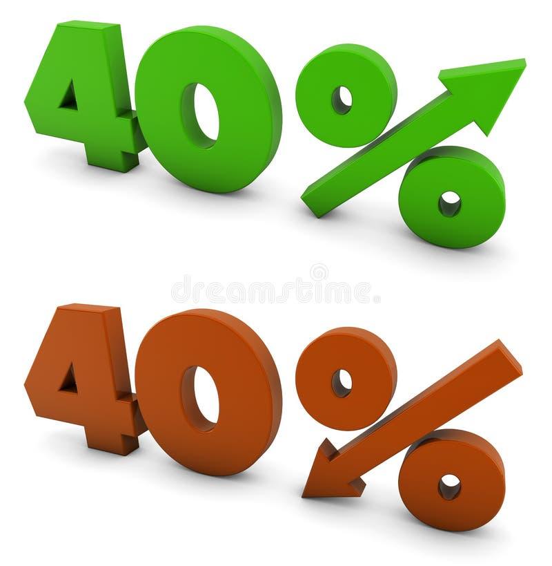 40 procent royaltyfri illustrationer