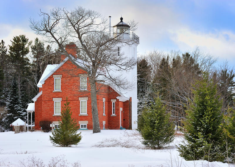 40 Punkt Milowa Latarnia morska, Rogers Miasto Michigan, USA obraz royalty free