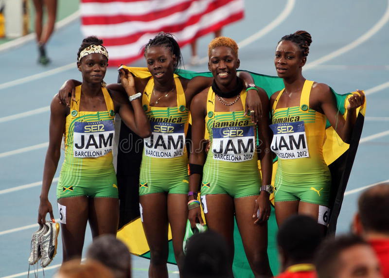 400米的牙买加小组亚军r 图库摄影