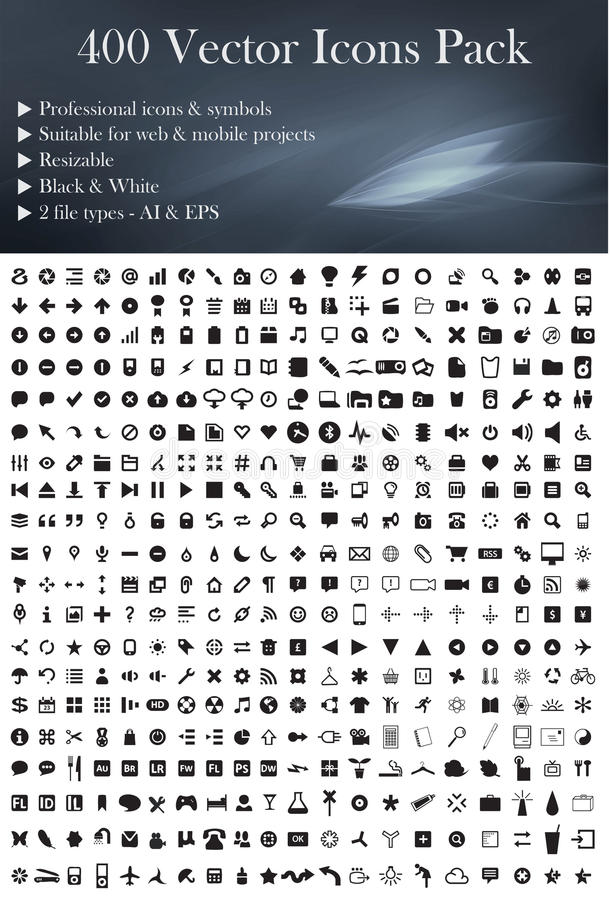 400 Vector Icons Pack (Black Version) vector illustration