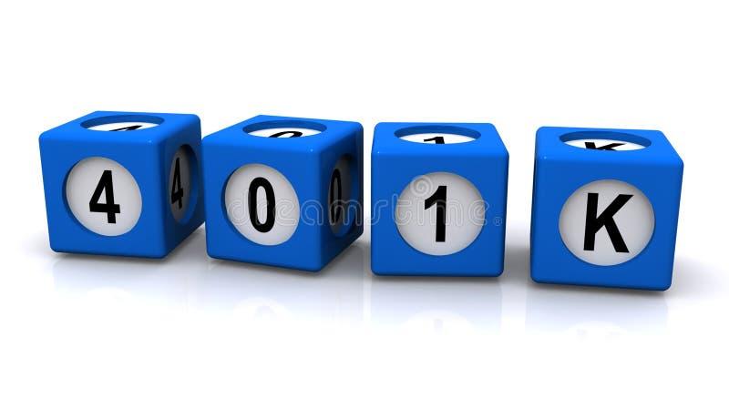 401K savings account. 401K retirement savings plan illustration in blue cubes on white background