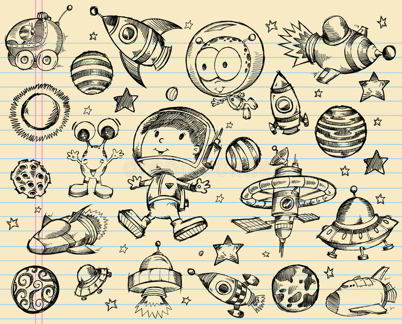 Outer Space Doodle Sketch Set royalty free illustration