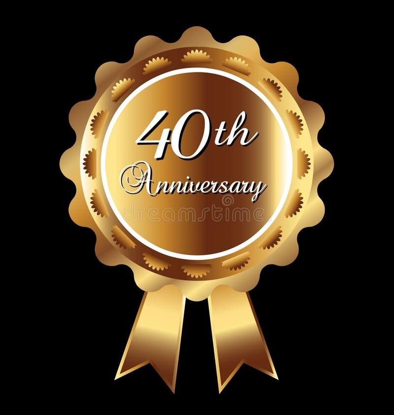 40th медаль годовщины иллюстрация штока