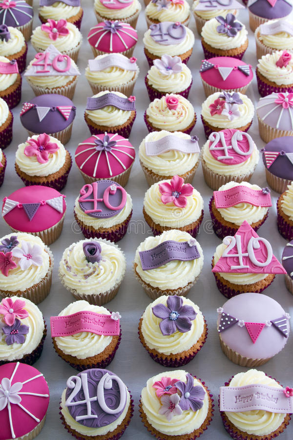 40th birthday cupcakes. Cupcakes for a 40th birthday party stock images