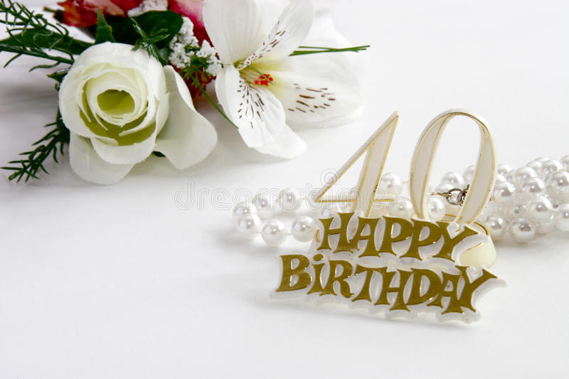Download 40th Birthday Sign With Pearls And Silk Rose Stock Photo - Image of concept, numbers: 14546446