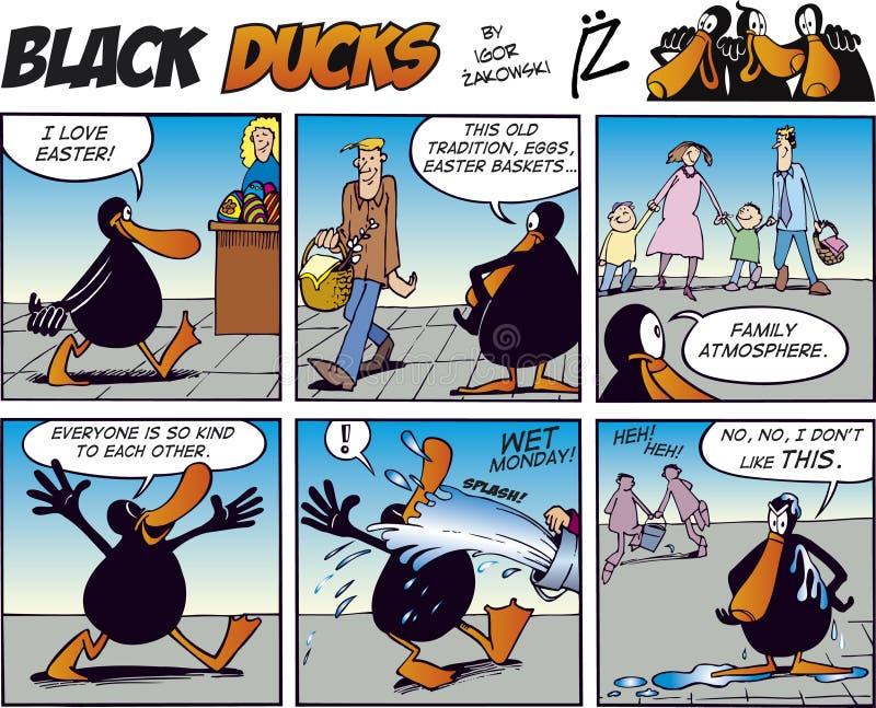 41只黑色可笑的鸭子情节主街上 向量例证