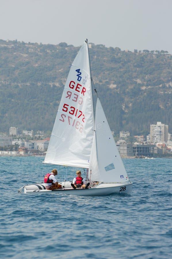420 2010 mistrzostwa międzynarodowych słowa jachtów obrazy stock