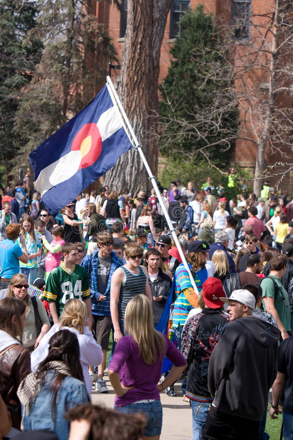 420 day Colorado University, Co Flag stock images