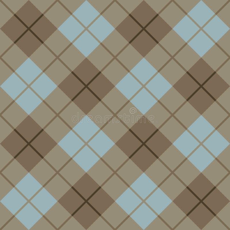 45蓝色褐色程度模式格子花呢披肩 向量例证