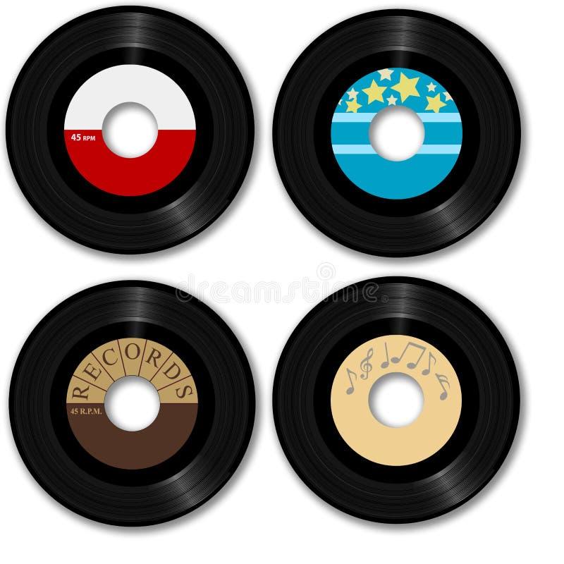 45 рекордных ретро rpm иллюстрация вектора